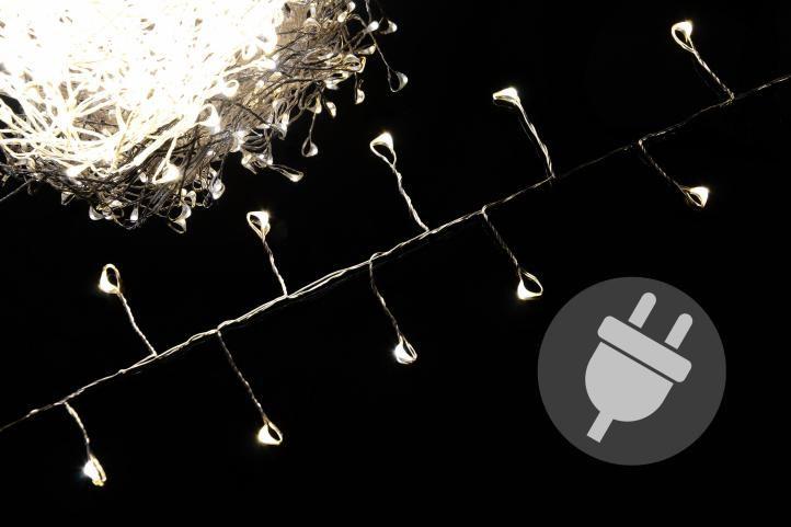 Vianočné LED osvetlenie 7,5 m - strieborný drôt - teplá biela 300 LED