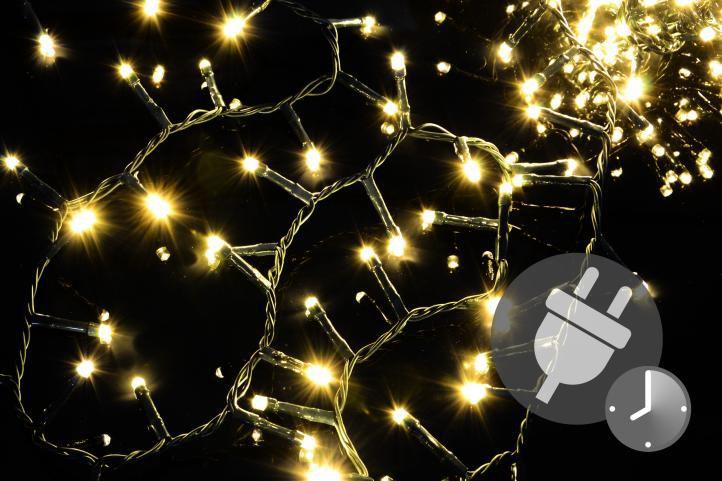 Vianočné LED osvetlenie 500 diód - bohatá reťaz - teplá biela 10 m