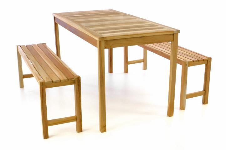Záhradný set lavíc a stola DIVERO - neošetrené teakové drevo - 135 cm