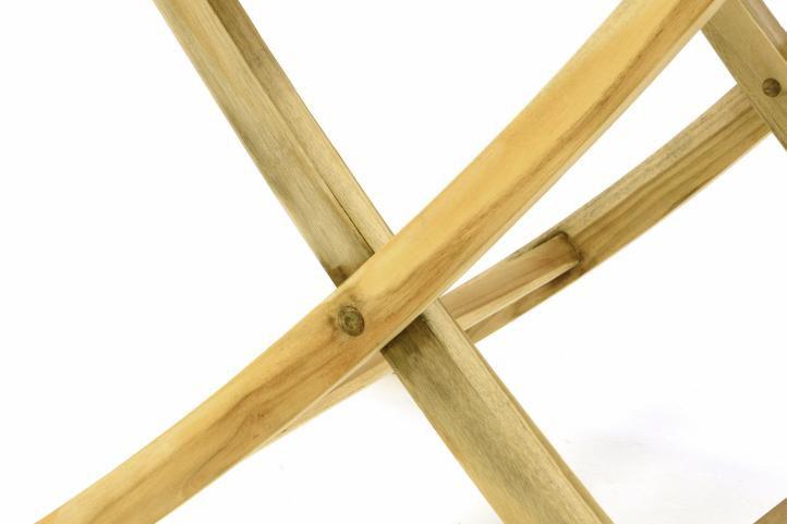 Skladací záhradný stolík DIVERO - teakové drevo neošetrené - 80 cm