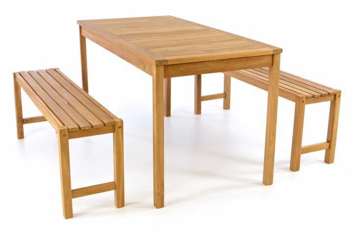 Záhradný set lavíc a stola DIVERO - ošetrené teakové drevo - 135 cm