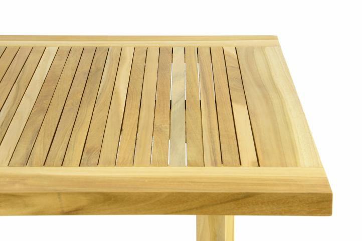 Teakový záhradný stôl DIVERO - skladací - 130 x 65 cm