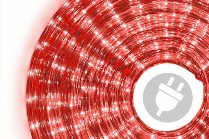 Svetelný kábel - 360 minižiaroviek, 10 m, červený