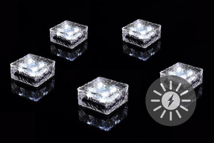 Sada 5 ks solárneho osvetlenia - sklenená kocka - biela