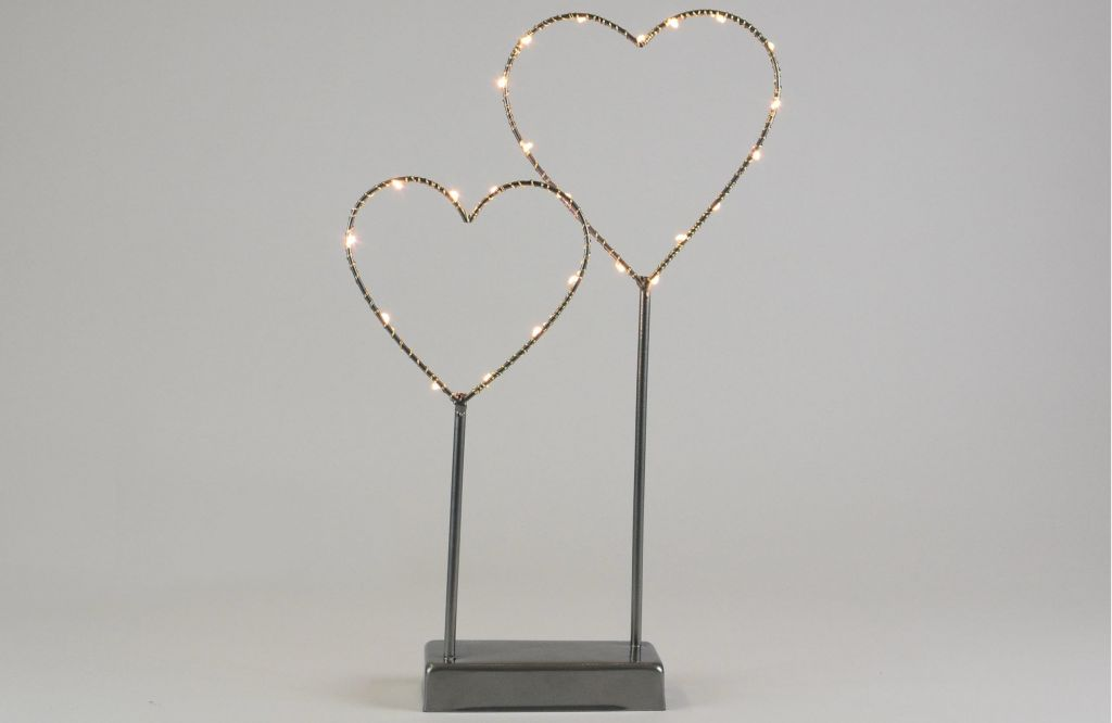 Vianočná LED dekorácia - kovové srdce - 25 LED sivá