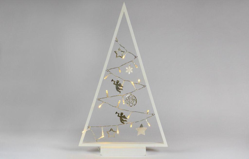 Svetelná dekorácia biela - Vianoce - 15 LED teplá biela