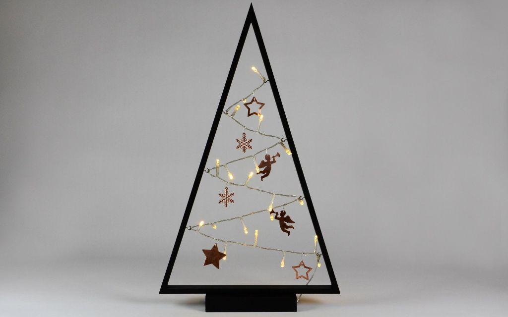 Svetelná dekorácia čierna - Vianoce - 20 LED teplá biela