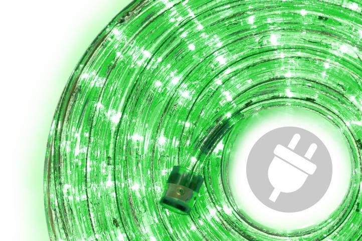 LED svetelný kábel - 240 diód, 10 m, zelený