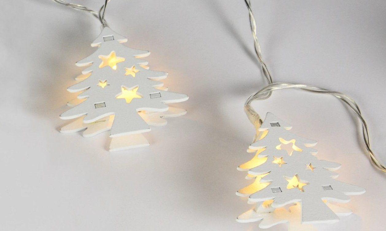 Vianočná dekoratívna reťaz HOLZ - biely stromček - 10 LED