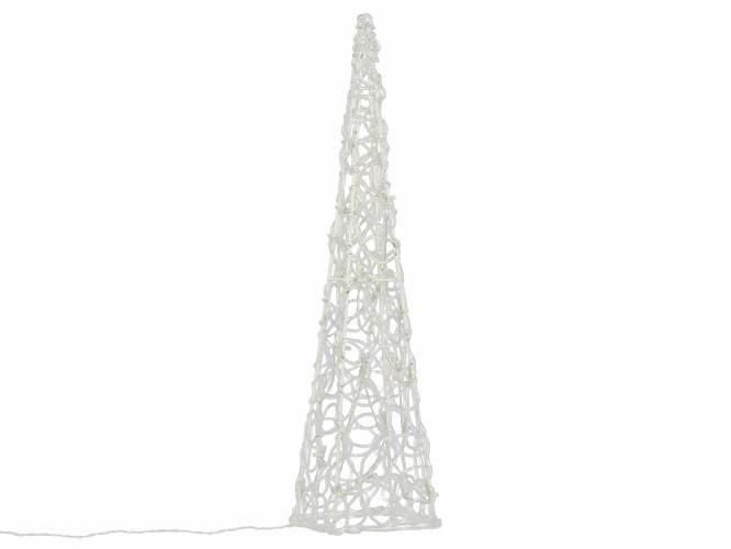 Vianočný akrylový ihlan 60 cm - teple biely, na batérie