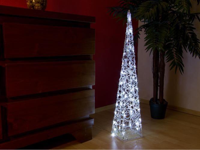 Vianočný akrylový ihlan 90 cm - studeno biely, do zásuvky