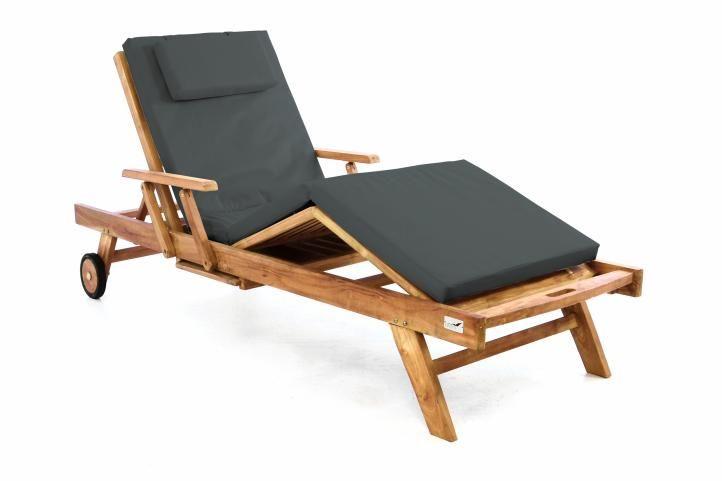 Záhradné drevené lehátko DIVERO z teakového dreva s podložkou - antracit