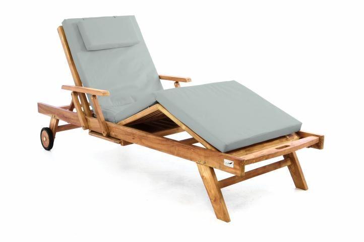Záhradné drevené lehátko DIVERO z teakového dreva s podložkou - svetlosivá