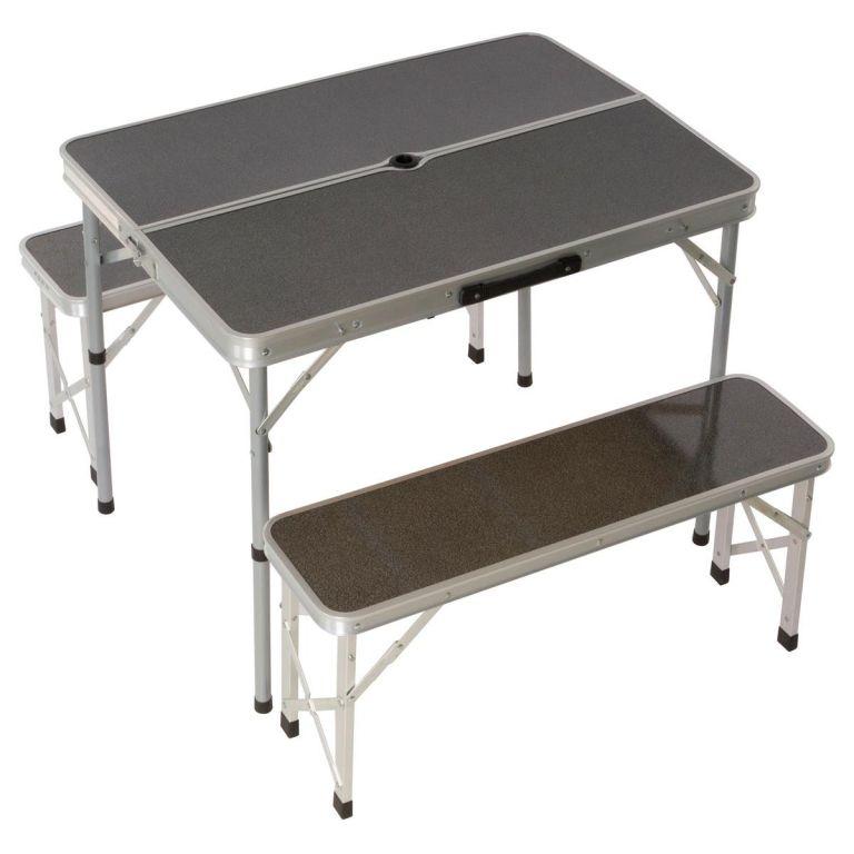 Skladací záhradný stôl 90 cm + 2 lavice