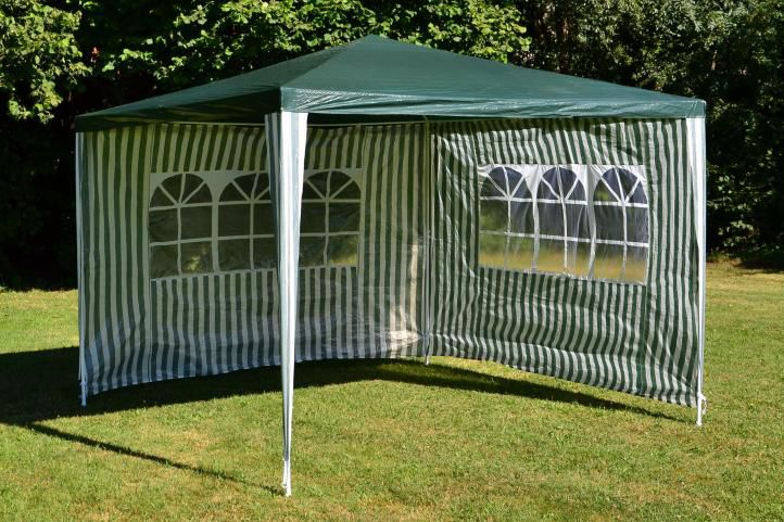 Záhradný párty stan - zelený 3 x 3 m + 2 bočné steny