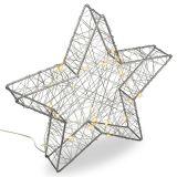 Vianočná kovová hviezda s 3D efektom - strieborná, 25 LED