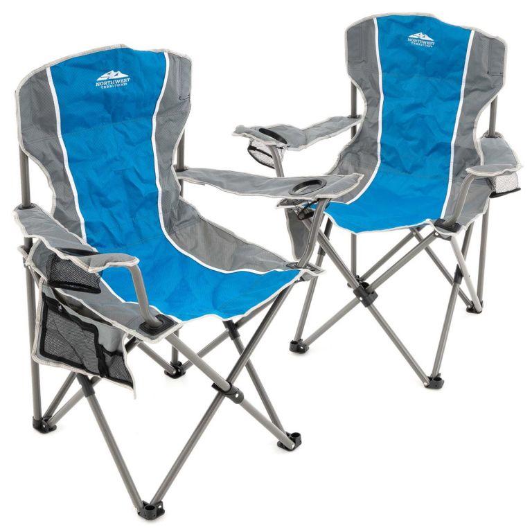 Sada 2 ks skladacích stoličiek - sivá, modrá