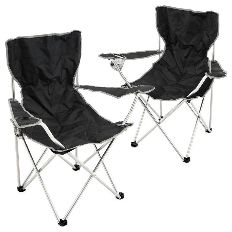 Sada 2 ks skladacích stoličiek - čierne