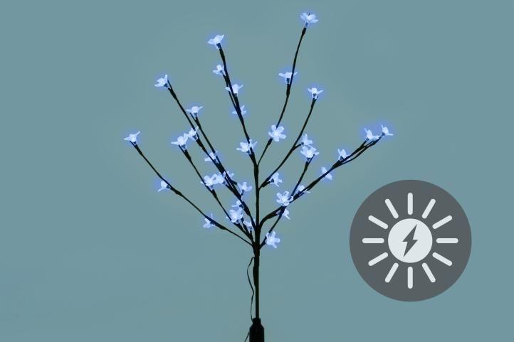 Záhradný kvetinový strom Garth s 36 LED diódami a solárnym panelom, biele LED diódy
