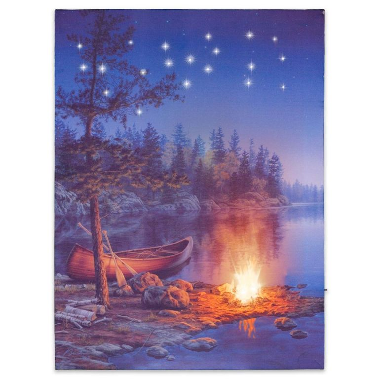 Nástenná maľba horské jazero, 2 LED + 20 LED, 30 x 40 cm