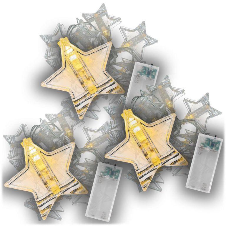 Vianočná svetelná reťaz hviezdy, 3 ks, teple biela, 10 LED