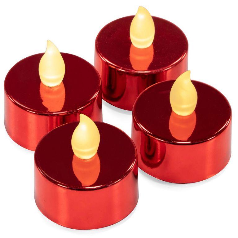 Dekoratívna sada 4 LED čajových sviečok na batérie, červené