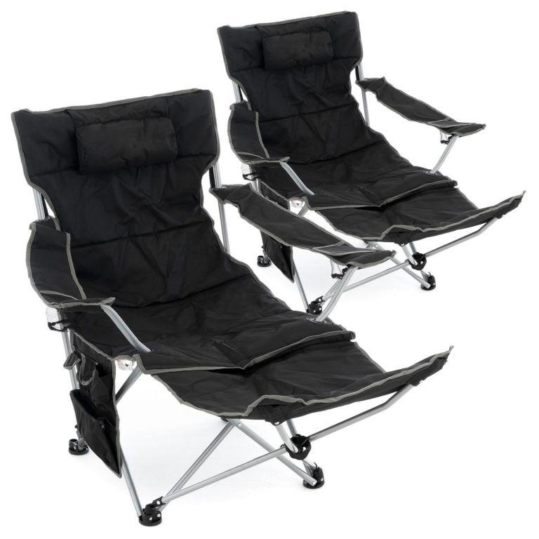 Sada 2 ks stoličiek s odnímateľnou podnožkou, čierna