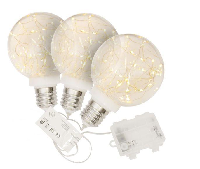 Vianočná dekorácie žiarovka, 3 ks, 40 LED, teplá biela