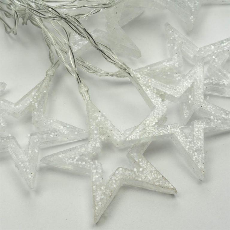 Sada 2 ks svetelných reťazí trblietavé hviezdy, teple biela