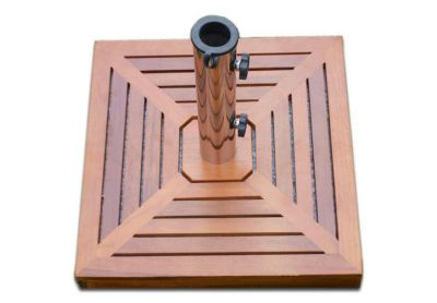 Stojan na slnečník (štvorcový) - žula / nerezová oceľ / drevené obloženie, 25 kg