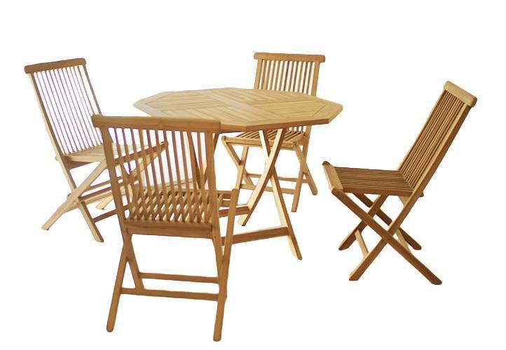 Záhradný set Gardenay z tíkového dreva, 1 stôl + 4 stoličky