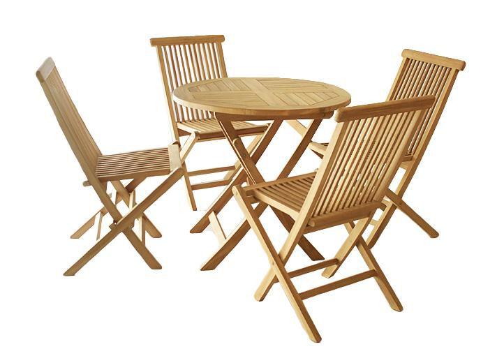 Záhradný set Garth z teakového dreva, 1 stôl + 4 stoličky