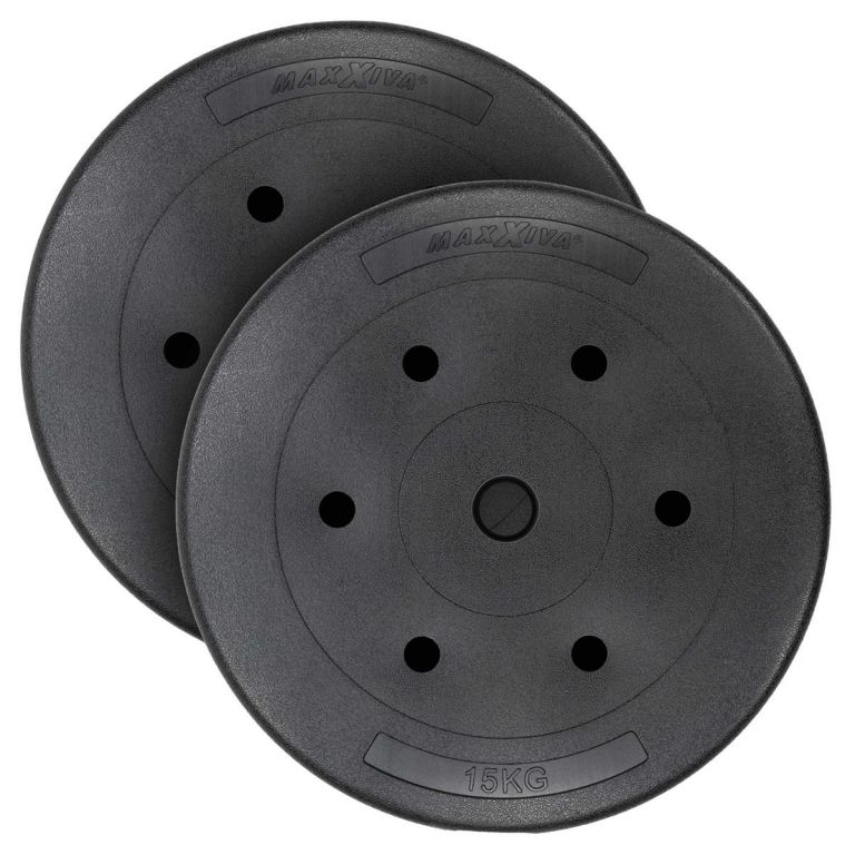 MAXXIVA sada závaží 2 x 15 kg, cement, čierna