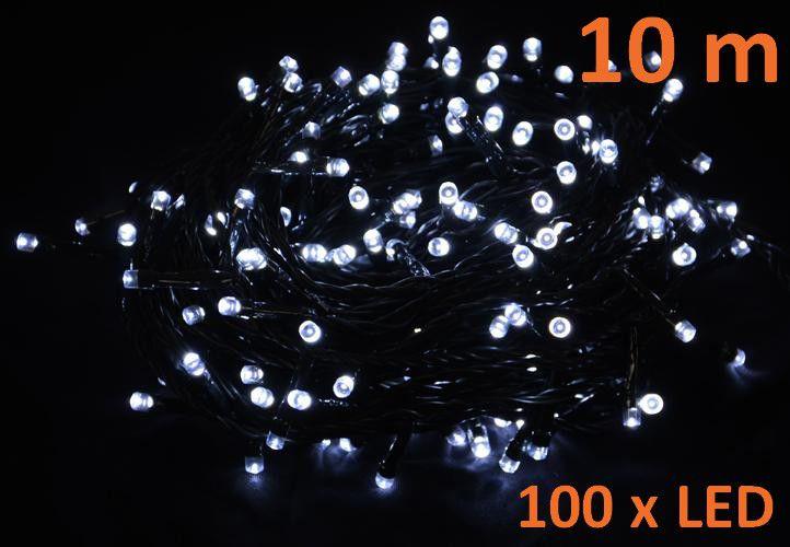 Vianočné LED osvetlenie 10 m - studená biela, 100 diód
