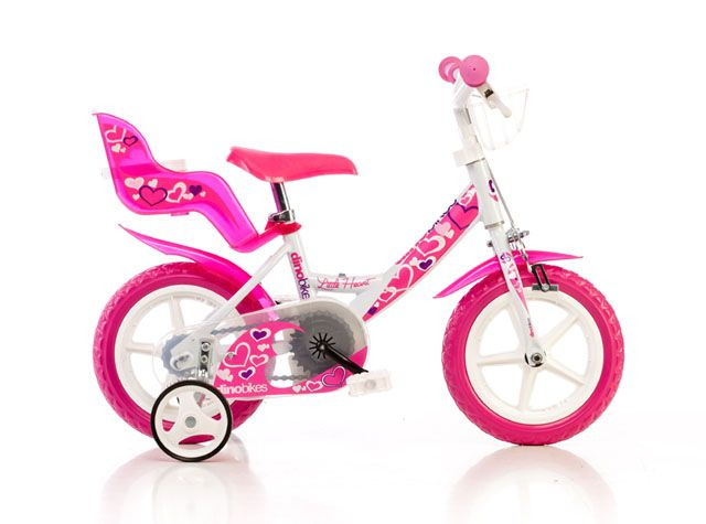 "CorbySport Dino 30363 Dětské kolo bílo-růžové 12"""