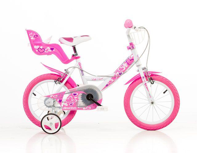 CorbySport Dino 144 Dětské kolo bílo-růžové 14