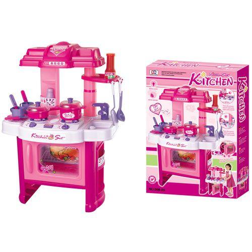 Detská kuchynka G21 s príslušenstvom ružová