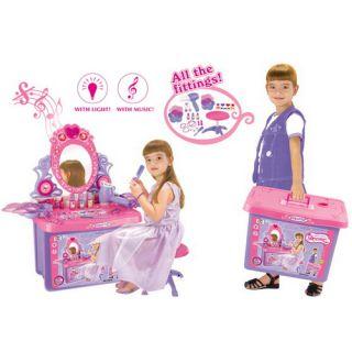 Detský kozmetický stolík G21 so zrkadlom a zvukami , v kufri