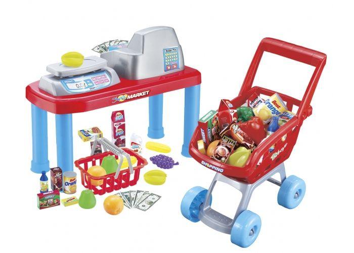 Hrací set G21 detská pokladňa + nákupný vozík s príslušenstvom