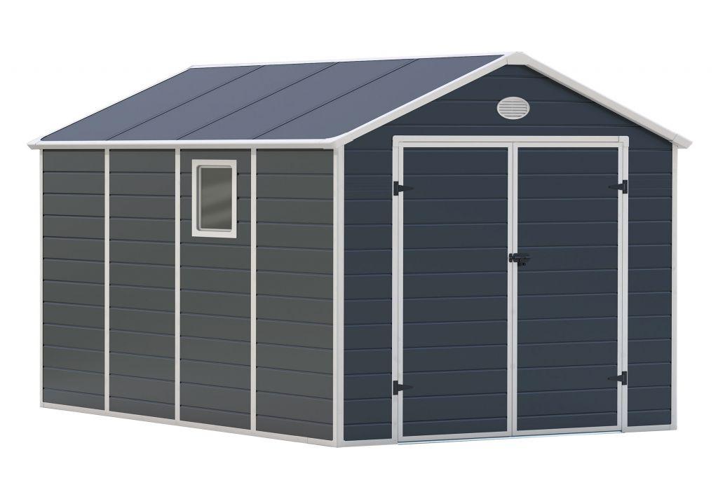 Záhradný domček G21 PAH 882 - 241 x 366 cm, plastový, sivý