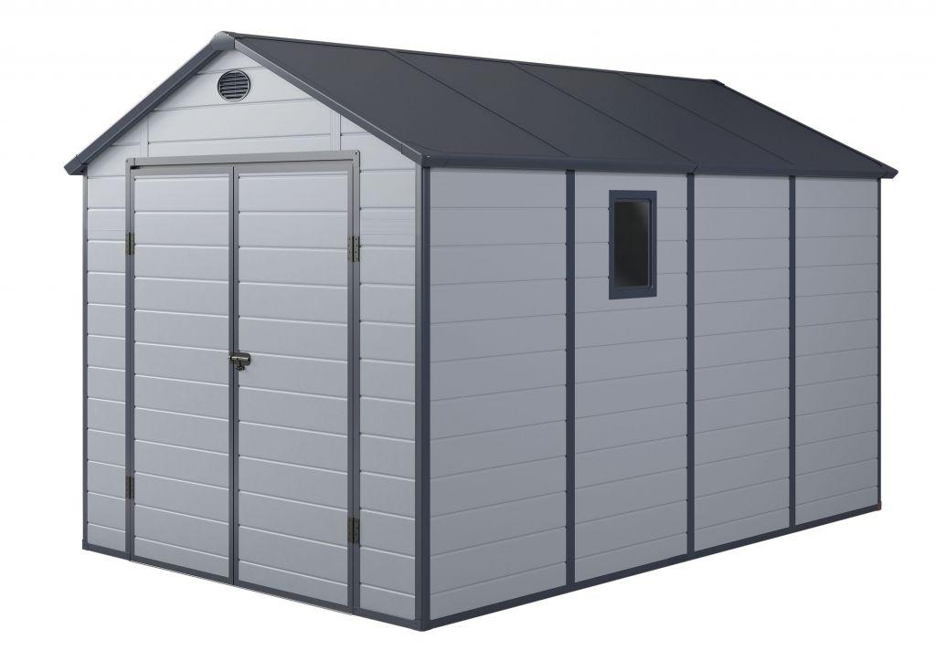Záhradný plastový domček PAH 882 - 241 x 366 cm, svetlosivý