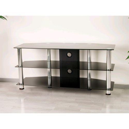 Televízny sklenený stolík čierny