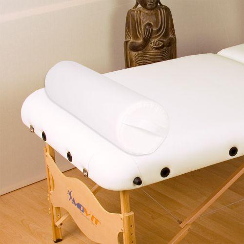 Vankúš pre masážny stôl biely kožený 68 cm valec
