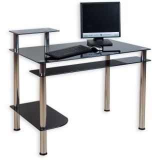 Sklenený kancelársky stôl na počítač KLASIK čierny