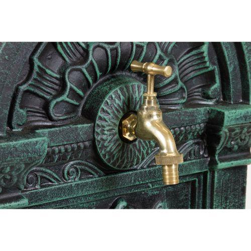 Záhradná fontána - fontána nástenná z liatiny tmavo zelená / čierna