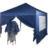 Záhradný párty stan nožnicový 3x3 m + 2 bočné steny - modrá