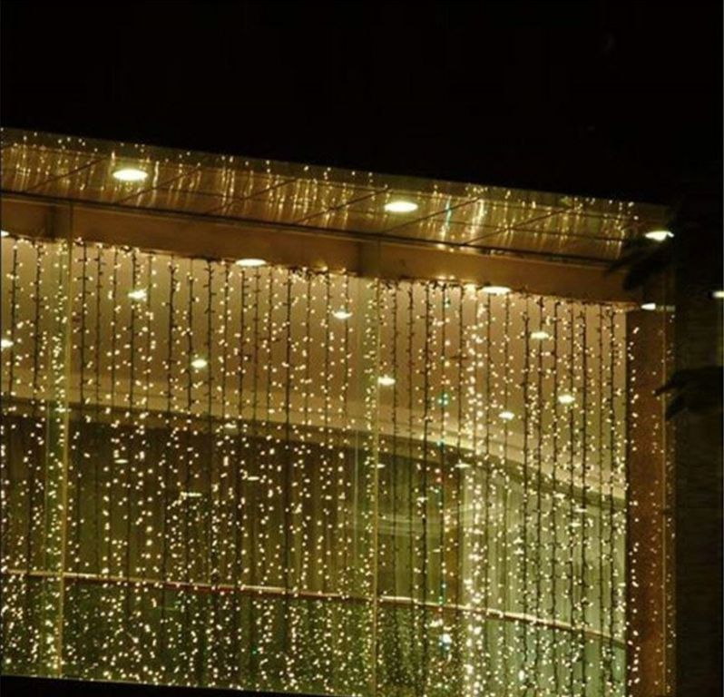 Vianočné osvetlenie - svetelný záves - 3 x 6 m teplá biela 600 LED