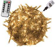 Vianočné LED osvetlenie 5 m - teplá biela 50 LED + ovládač