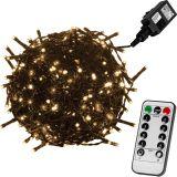 Vianočné LED osvetlenie 5 m - teplá biela 50 LED + ovládač - zelený kábel