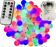 Párty LED osvetlenie 5m - farebné 50diód - BATÉRIE ovládač